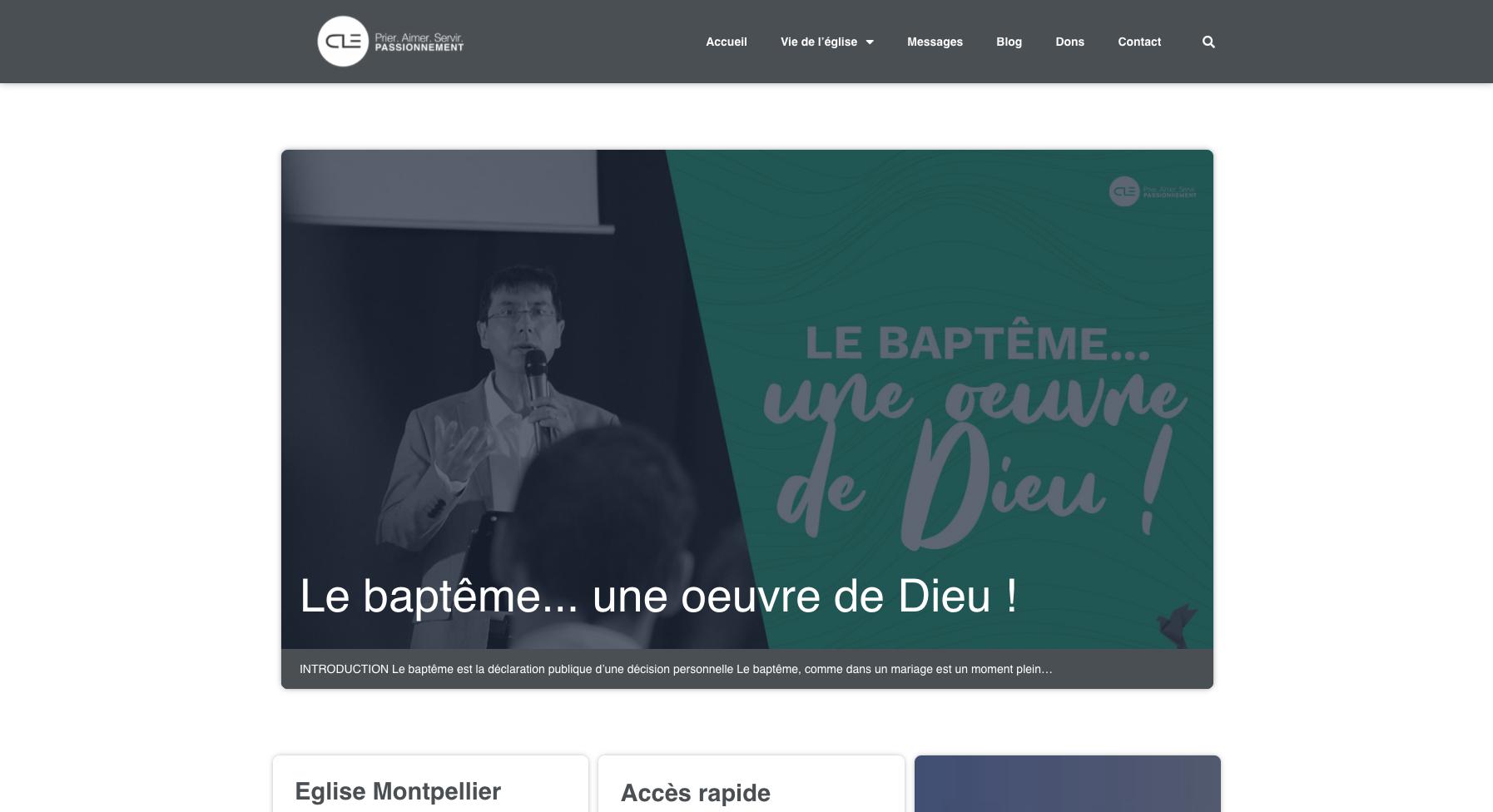 Site internet de l'église Clé à Montpellier